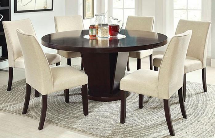 "CM3556T-7PC 7 pc Plattsburgh cimma espresso finish wood 60"" round dining table set"