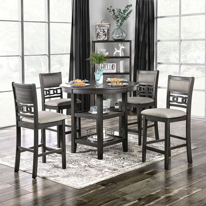 """CM3609PT-5PC 5 pc Hokku designs milly ellis gray finish wood 42"""" round counter height dining table set"""