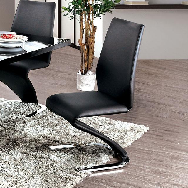 CM3650BK-SC-2PK Set of 2 Orren ellis mattison midvale modern style black faux leather modern dining chairs