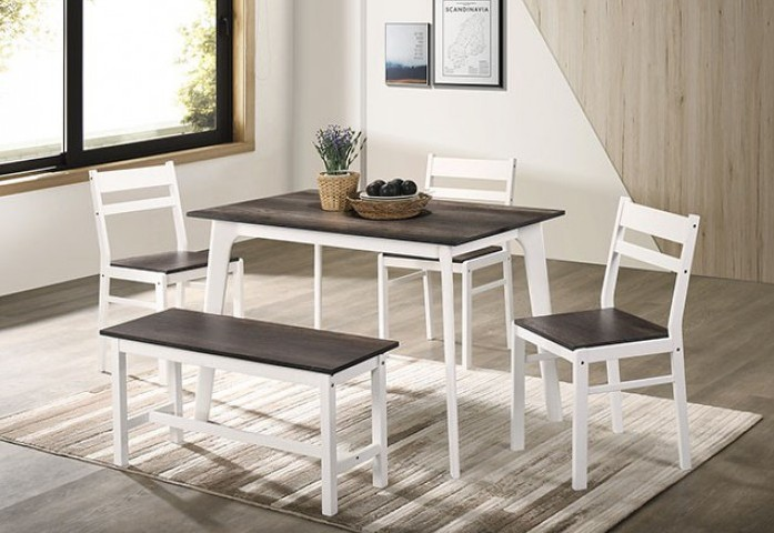 CM3714GY-T-BN-5PK 5 pc Canora grey mel debbie grey and white finish wood dining table set with bench