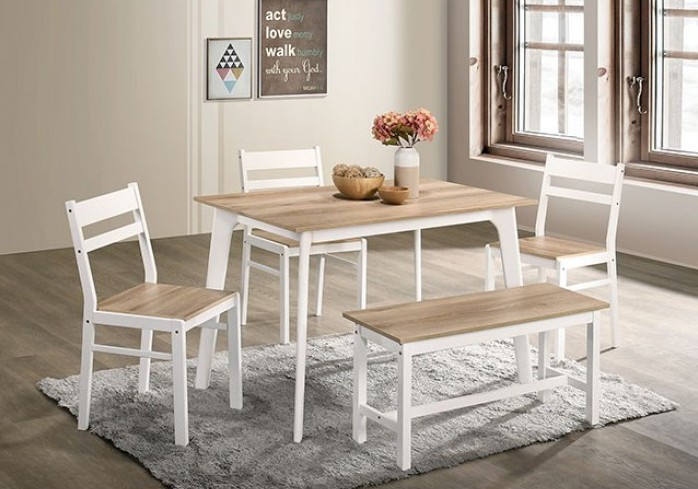 CM3714NT-T-BN-5PK 5 pc Canora grey mel debbie natural and white finish wood dining table set with bench