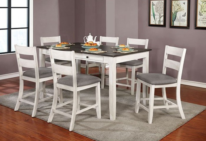 CM3715PT-7PC 7 pc One allium way truman anadia antique white/gray finish wood counter height dining table set