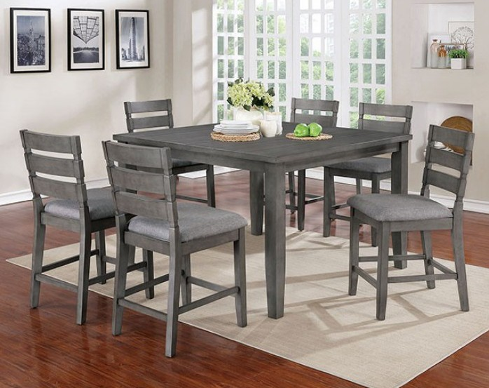 CM3716PT-7PC 7 pc One allium way viana gray finish wood counter height dining table set