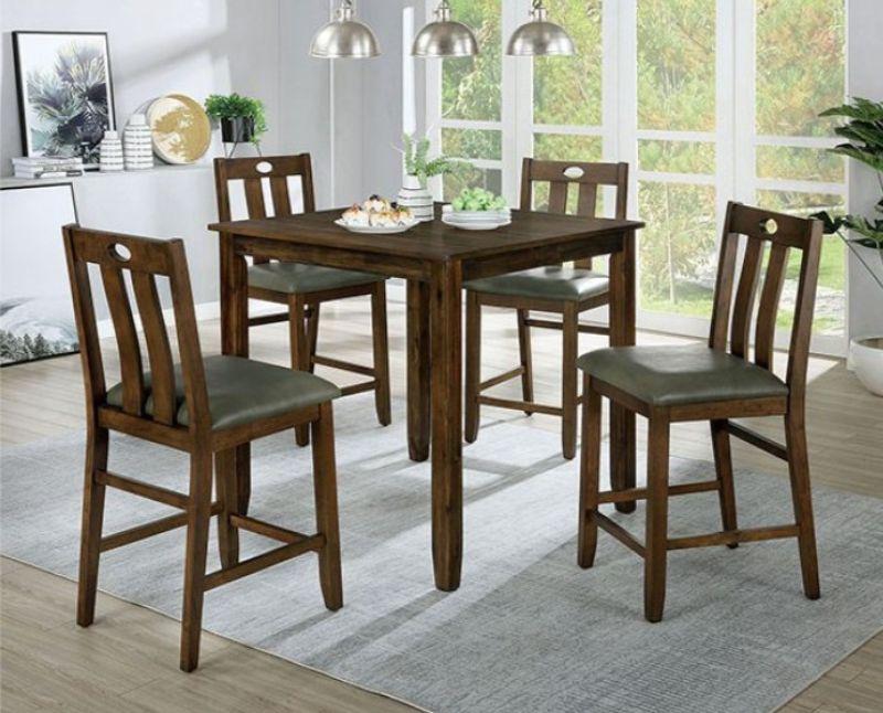 CM3717PT-5PK 5 pc Red barrel studio brinley II walnut finish wood counter height dining table set