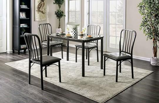 CM3731T-5PC 5 pc Larton philon dark grey metal frame faux marble top dining table set