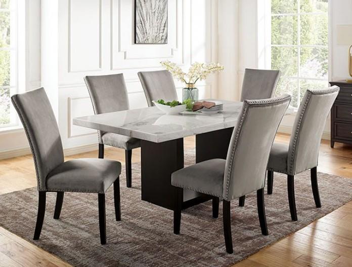 CM3744T 7 pc Canora grey mel kian I black finish wood marble top dining table set