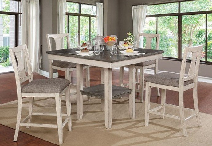 CM3752-PT-5PK 5 pc Gracie oaks sheffield ann II antique white/gray finish wood counter height dining table set