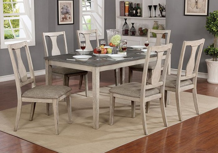 CM3752T-7PK 7 pc One allium way truman ann II antique white/gray finish wood dining table set