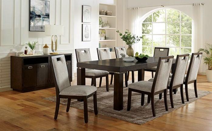 CM3784T 9 pc Canora grey mel caterina dark walnut finish wood dining table set