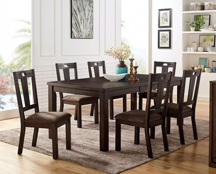 CM3790T-7PC 7 pc Canora grey mel brinley walnut finish wood dining table set