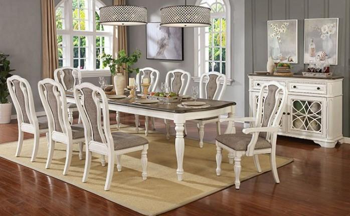 CM3795T 9 pc Canora grey mel leslie white wash and dark walnut finish wood dining table set