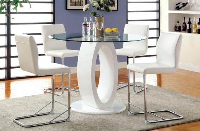 "CM3825WH-RPT 5 pc Orren ellis waller lodia ii modern style white finish wood base 48"" round counter height table set"