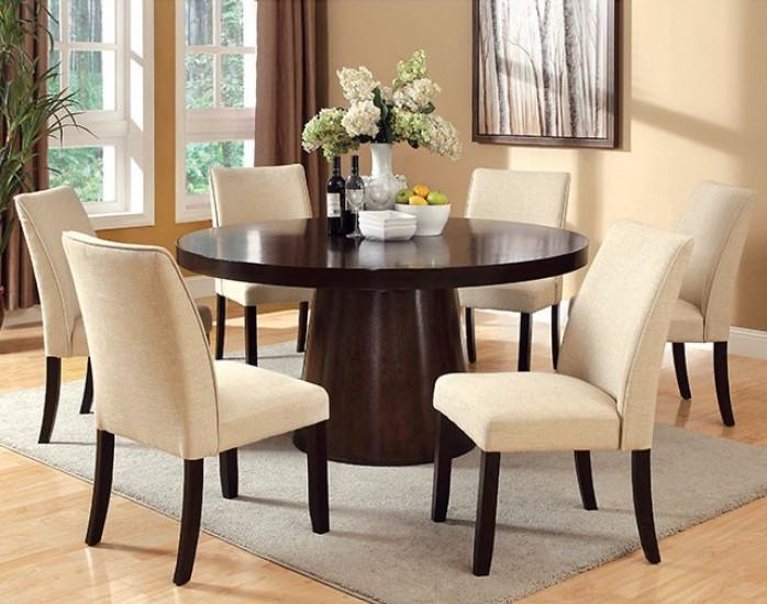 "CM3849T-3556SC-7PC 7 pc havana espresso finish wood 60"" round dining table set"