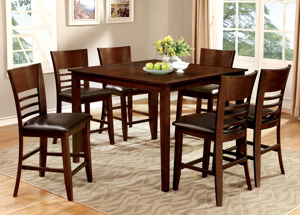 CM3916PT-7PC 7 pc Alcott hill shirlene hillsview II brown cherry finish wood counter height dining table set