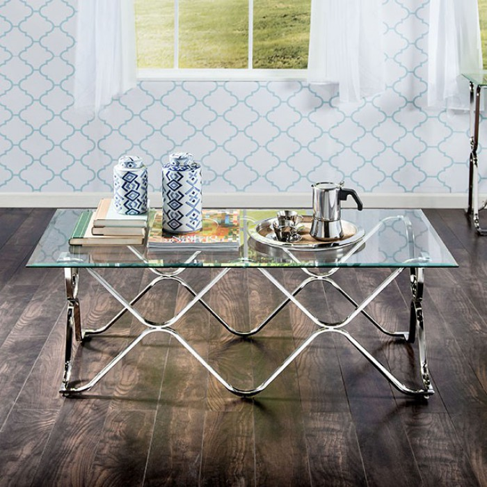 CM4229C Vador chrome metal and beveled glass finish coffee table