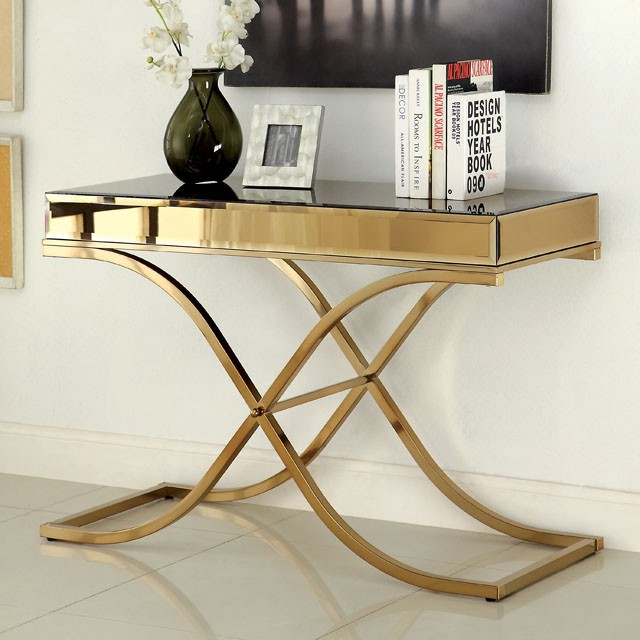 CM4230-S Sundance brass metal and beveled mirror finish sofa table