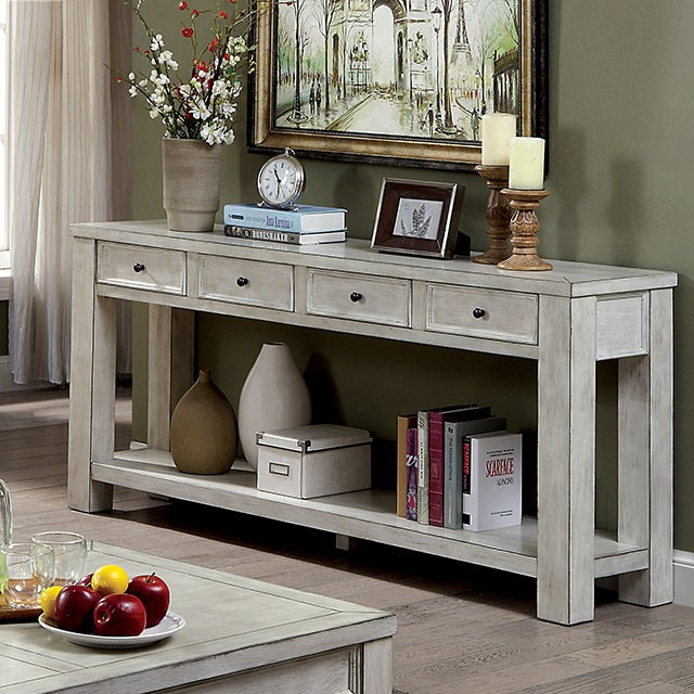 CM4327WH-S Meadow antique white finish wood plank style sofa table