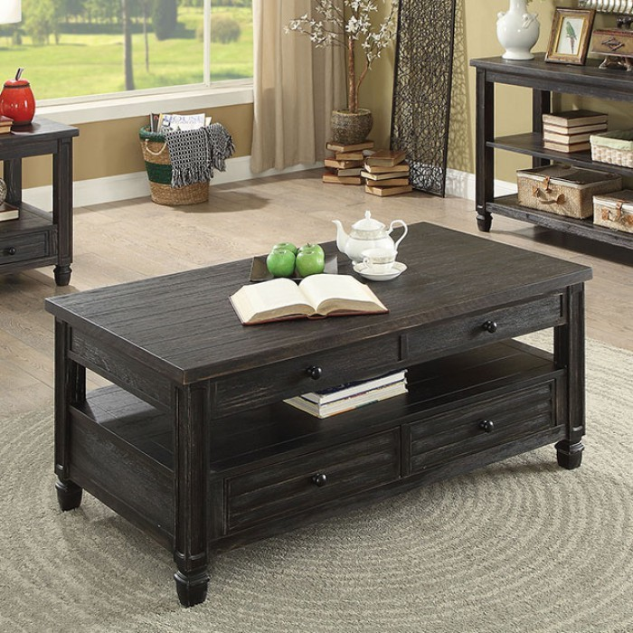 CM4615BK-C Suzette antique black finish wood coffee table with drawers