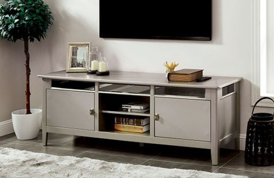 CM5202-TV Xaviera silver finish wood double cabinet TV stand