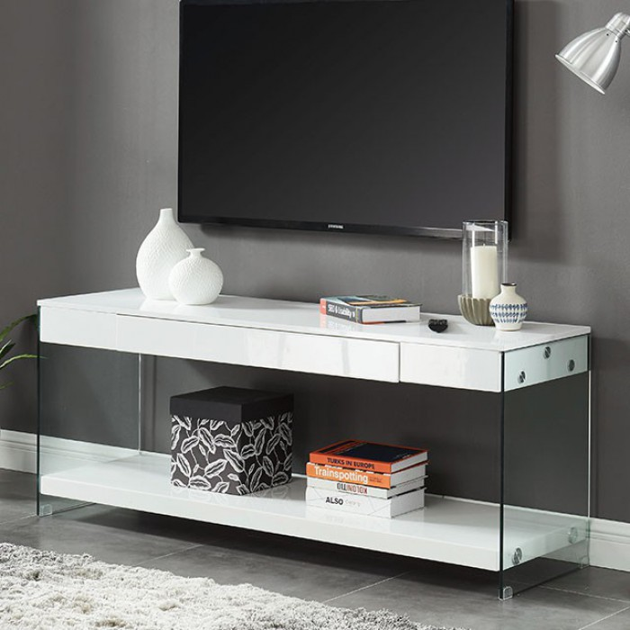 """CM5206WH-TV-60 Sabugal white finish wood modern style glass sides 60"""" TV stand"""