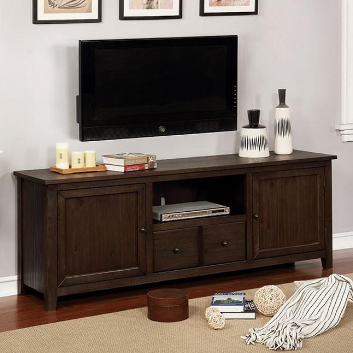 CM5902DA-TV-72 Presho dark oak finish wood double cabinet TV stand
