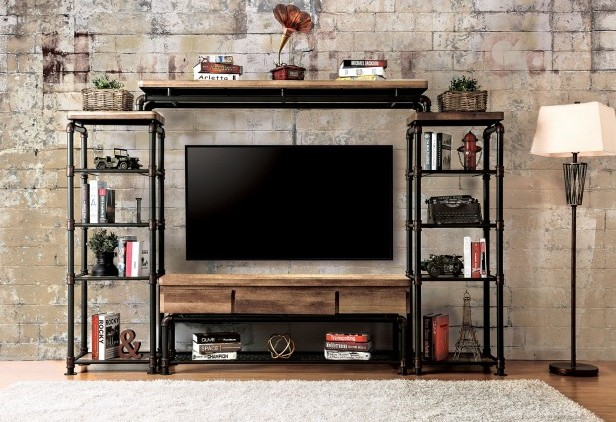 4 pc kerbyll collection industrial metal pipe style antique black finish and replicated wood entertainment center