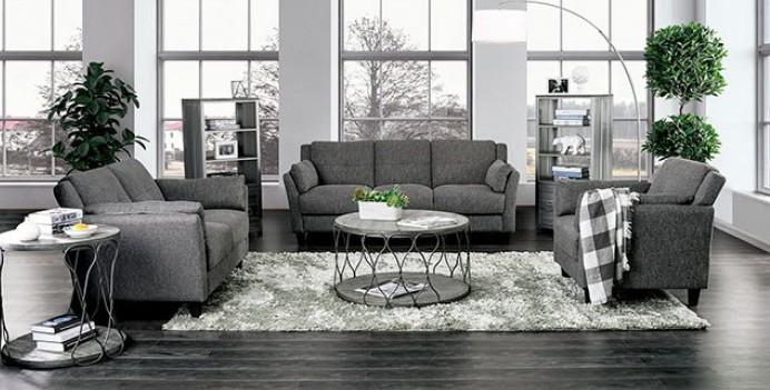 CM6020 2 pc Yazmin gray linen like fabric sofa and love seat set