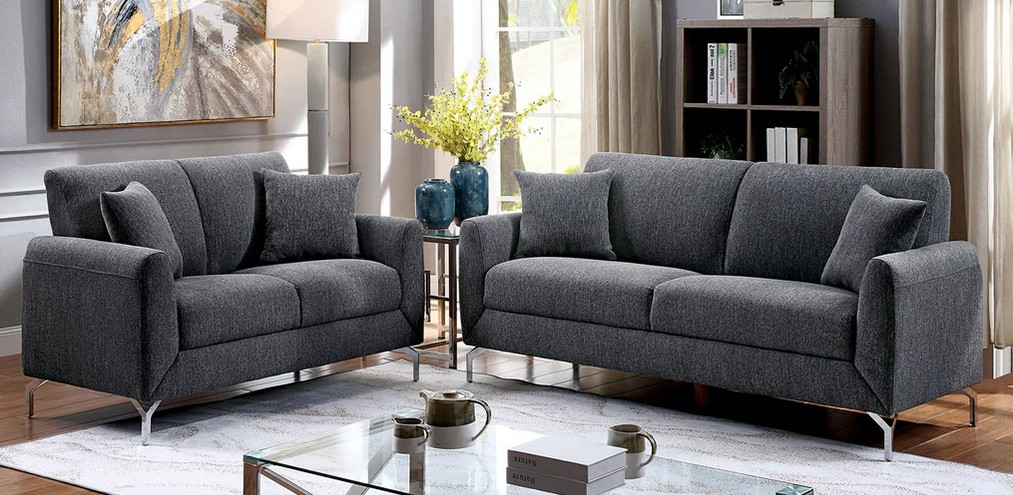 CM6088GY 2 pc Lauritz gray linen like fabric sofa and love seat set