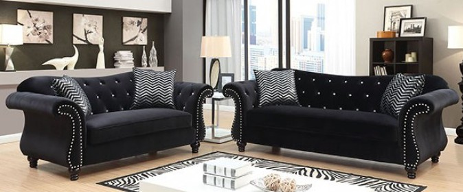 CM6159BK 2 pc jolanda black flannelette fabric sofa and love seat set with tufted backs