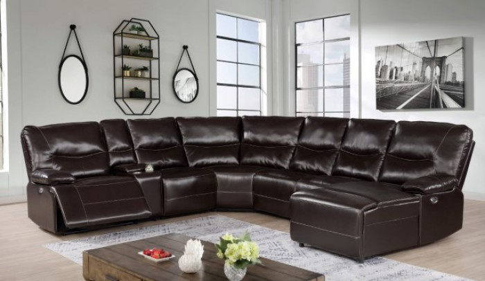CM6229DK 7 pc Darby home co Alayna dark brown leatherette sectional sofa with power recliners ends and chaise