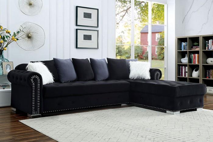 CM6239BK 2 pc Orren ellis wilmington black velvet like fabric sectional sofa set with chaise