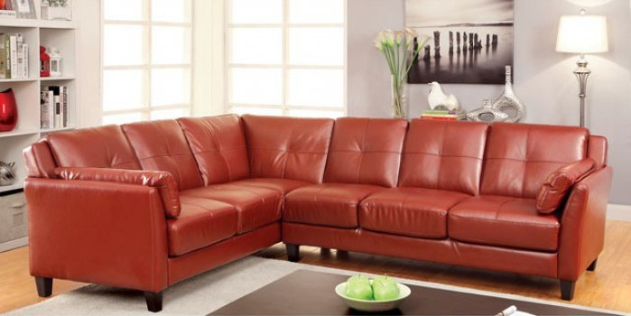 CM6268RD 2 pc peever mahogany red leatherette sectional sofa set