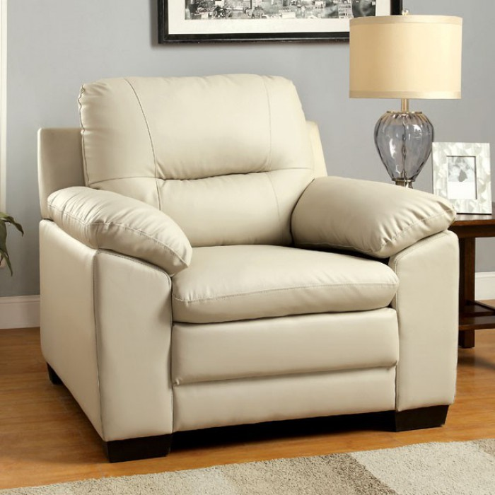 CM6324IV-CH Parma ivory padded leatherette chair