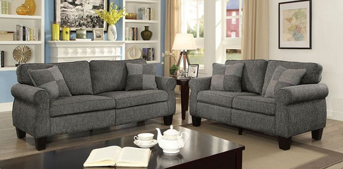 CM6328GY 2 pc Rhian light/dark gray linen like fabric sofa and love seat set