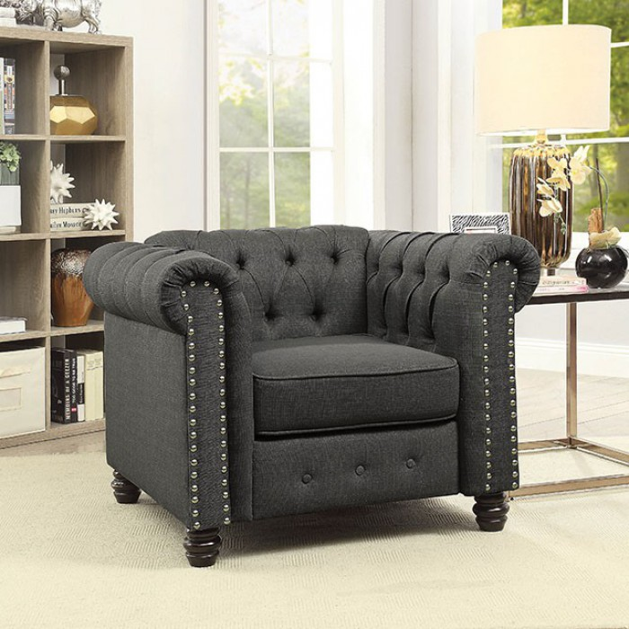 CM6342GY-CH Winifred gray linen like fabric accent chair with tufted backs