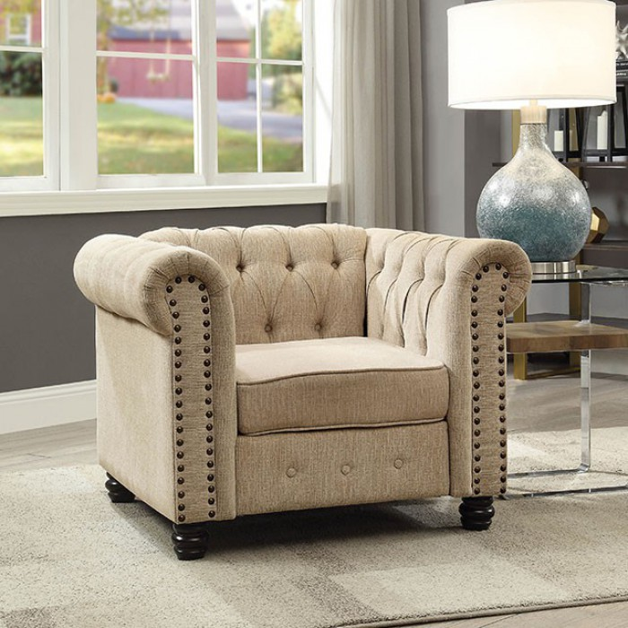 CM6342IV-CH Winifred ivory linen like fabric accent chair with tufted backs