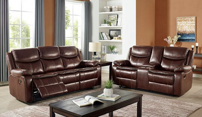 CM6343 2 pc Darby home co jeanna brown leatherette motion sofa and love seat recliner ends