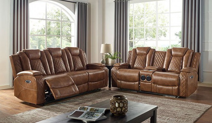 CM6346 2 pc Darby home co alexia medium brown leatherette power motion sofa and love seat recliner ends