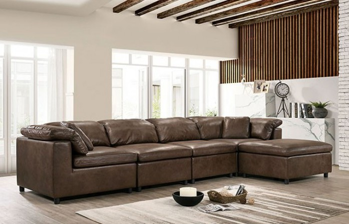CM6472-SECT-L 5 pc Tamera brown breathable leatherette modular sectional sofa set