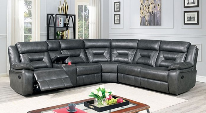 CM6642GY 3 pc Omeet grey breathable leatherette sectional sofa with recliner ends and center cup console