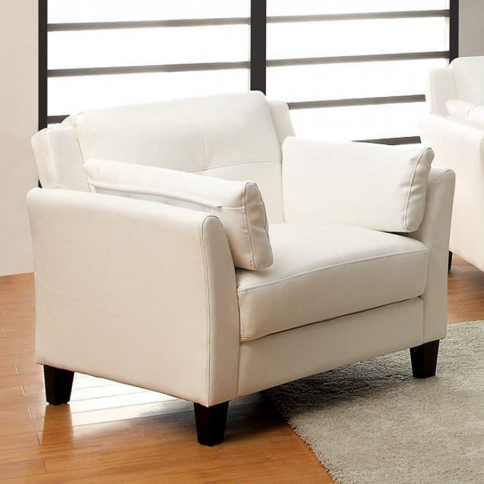 CM6717WH-CH Pierre white leatherette accent chair