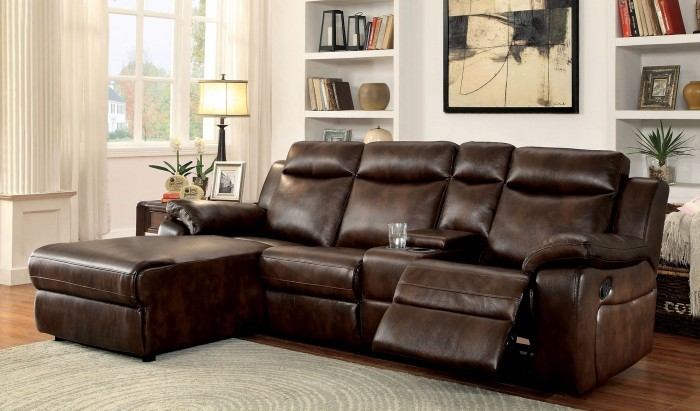 CM6781BR 2 pc hardy brown leatherette sectional sofa with chaise and recliner
