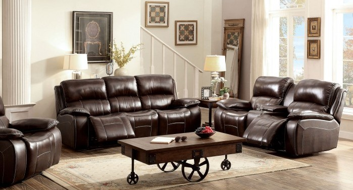 CM6783BR 2 pc ruth brown top grain leather match sofa and love seat with recliners
