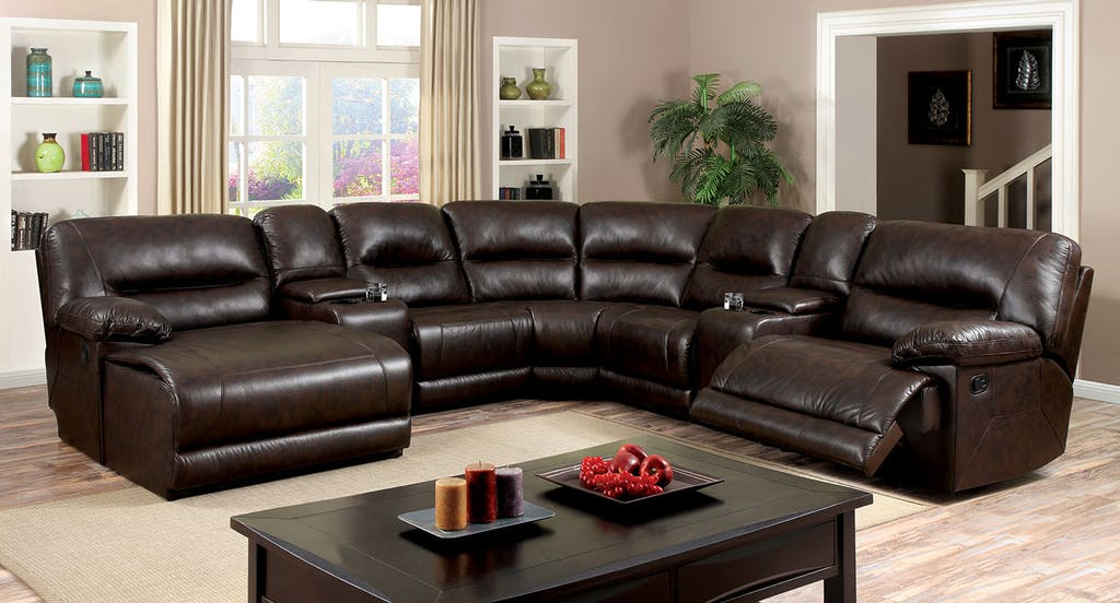 6 pc glasgow ii brown breathable leatherette sectional sofa with recliners on the ends