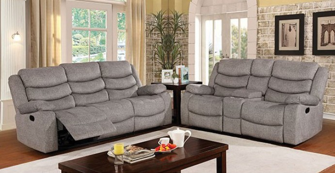 CM6940 2 pc Castleford light gray fabric sofa and love seat recliner ends