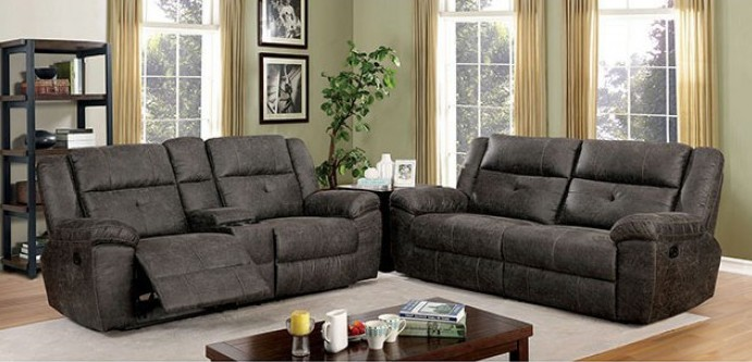 CM6943 2 pc Chichester dark brown fabric like vinyl sofa and love seat recliner ends
