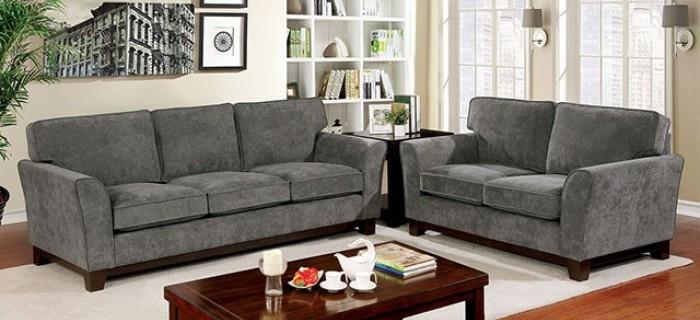 CM6954GY 2 pc Caldicot gray/brown cherry linen like fabric sofa and love seat set