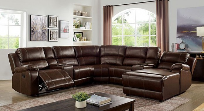 CM6970 7 pc Darby home co jessie brown leatherette sectional sofa with recliner ends and chaise