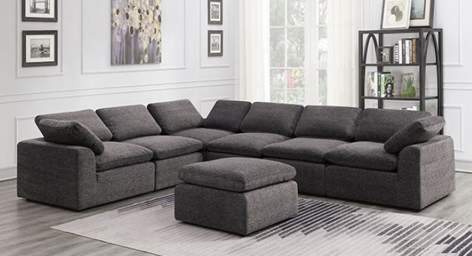 CM6974GY-6PC 6 pc Joel gray soft chenille fabric upholstered modular sectional sofa