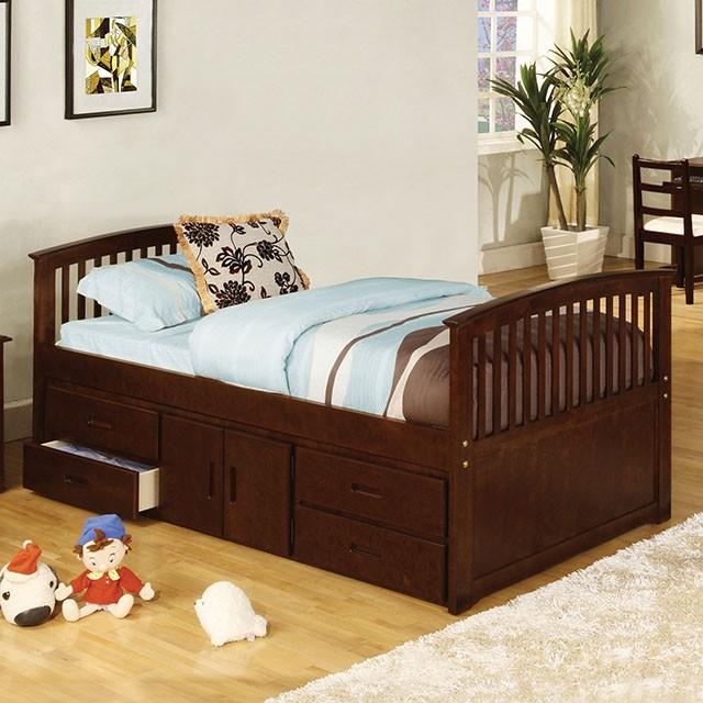 CM7032-524 Caballero dark walnut wood finish mission style platform captain twin size bed